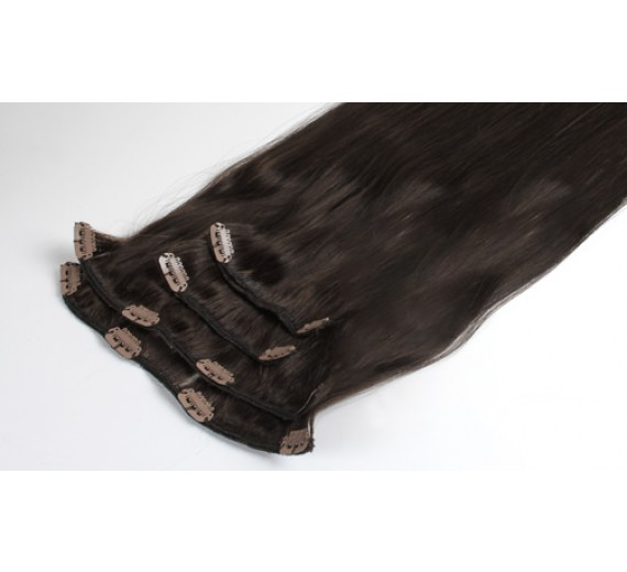 Clips on extensions 50 gram pr pakke - 2# Alm brun - 55 cm