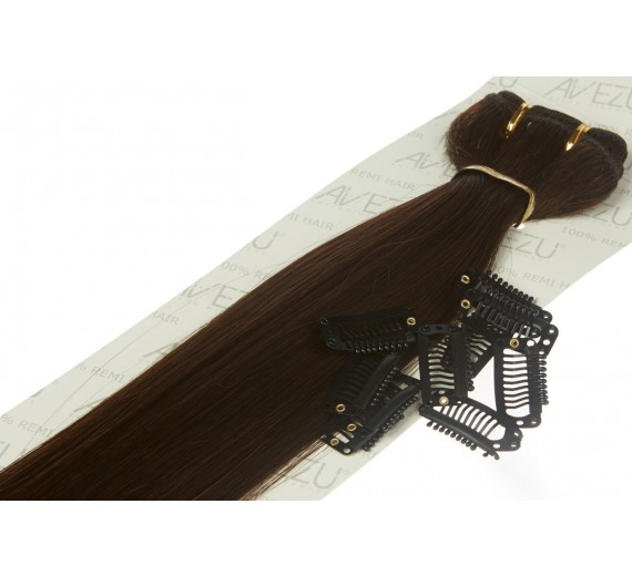Lav selv clips on extensions - m/ 10 stk clips - 55 cm - 2# Alm brun