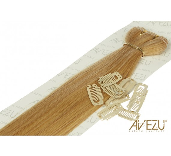 Lav selv clips on extensions - m/ 10 stk clips - 55 cm - 60/27# Caramelmix