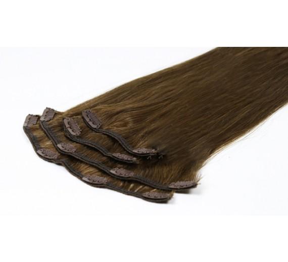 Clips on extensions 50 gram pr pakke - 6# Medium brun - 55 cm