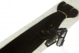Lav selv clips on extensions - m/ 10 stk clips - 55 cm - 1# Sort