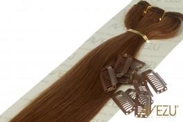Lav selv clips on extensions - m/ 10 stk clips - 55 cm - 6# Medium brun