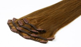 Clips on extensions 50 gram pr pakke - 8# Lysbrun - 55 cm
