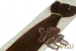 Lav selv clips on extensions - m/ 10 stk clips - 55 cm - 4# Chokolade