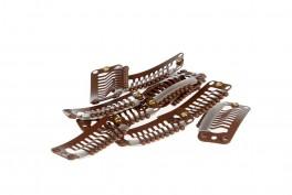 Clips til hår extensions - 10 stk løse clips - m/silikoneydre - Brun