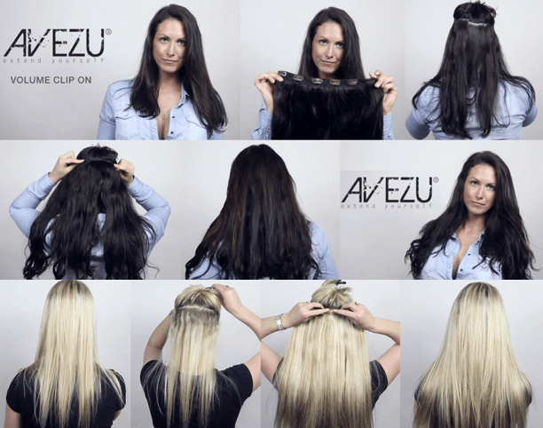 AVEZU volume clips on/off hair extensions